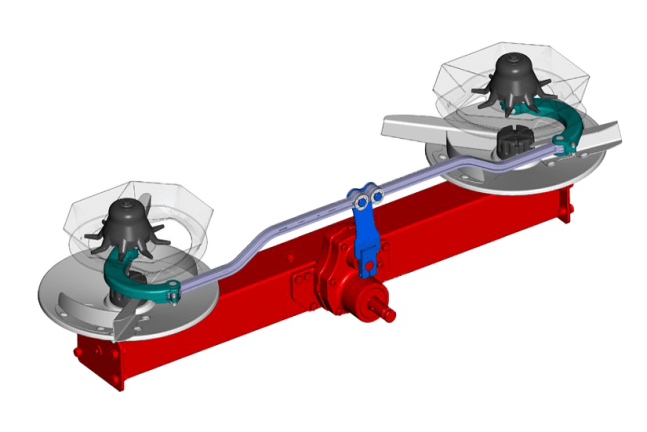A diagram of the mechanical drive system on the Axis 30.2 Q fertilizer spreaders.