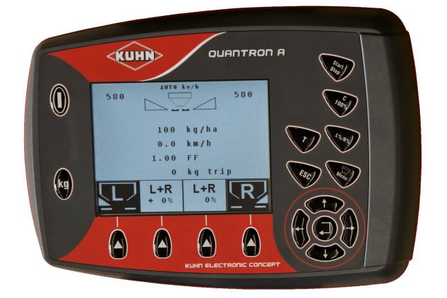Close-up photo of the Quantron A control terminal for the Axis 30.2 Q fertilizer spreader.