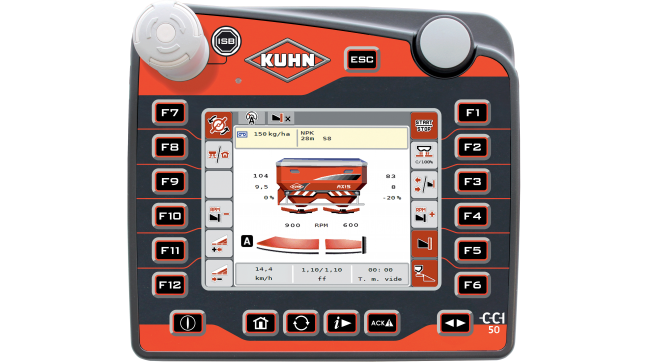 CCI 50 terminal displaying information on a touch-sensitive and intuitive interface