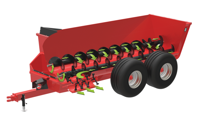 Illustration of the twin-auger design on the SL 100 Series manure spreaders.