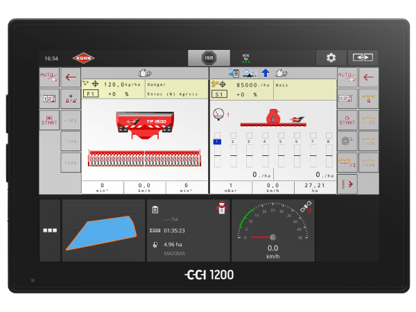 CCI 1200 terminal displaying simultaneously two ISOBUS machines on the screen, a front hopper and a seed drill thanks to the UT double function