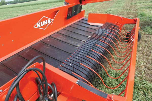 The windguard on a KUHN Merge Maxx 300 hay merger.
